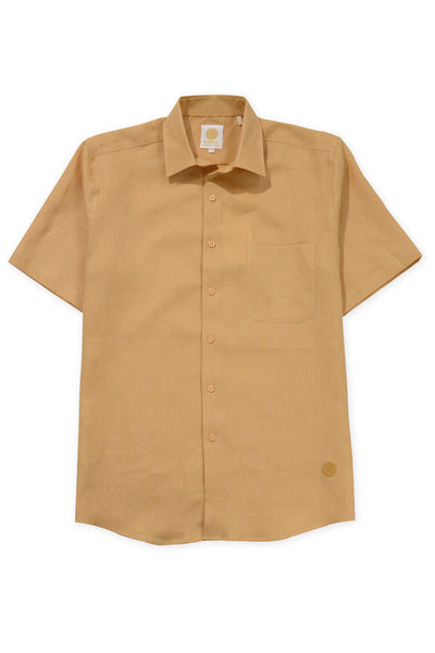 Regular fit short sleeve boat wear linen shirt mustard