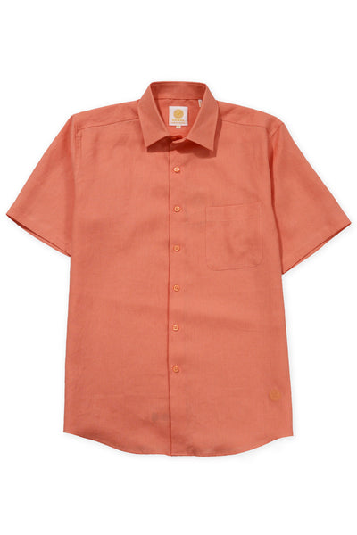 Regular fit short sleeve boat wear linen shirt orange