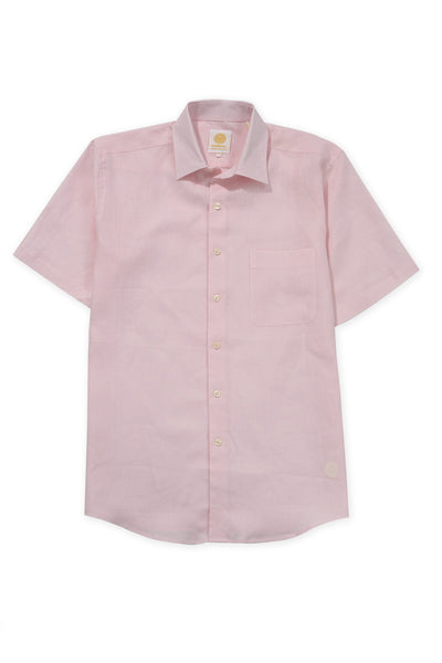 regular fit short sleeve linen shirt