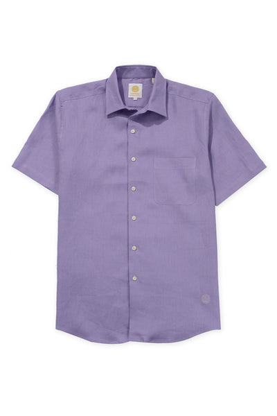 Regular fit short sleeve boat wear linen shirt violet