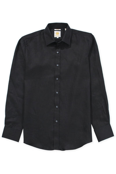 Slim fit cool linen shirt black
