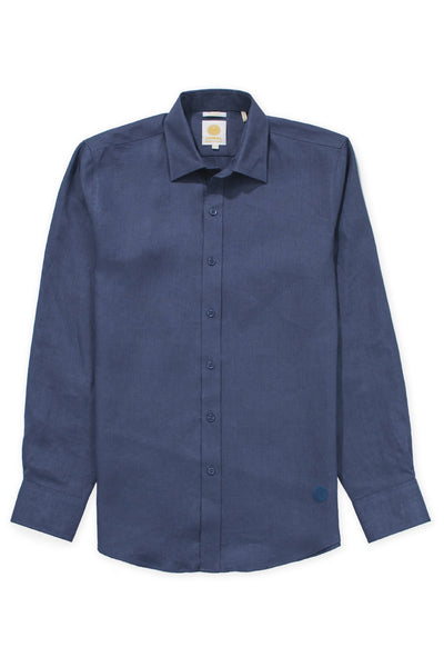 Slim fit cool linen shirt ink blue