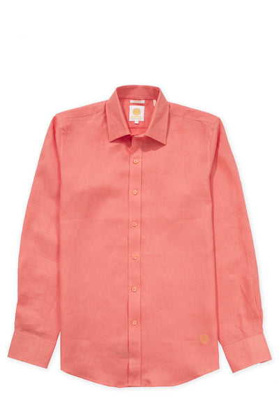 Slim fit cool linen shirt orange