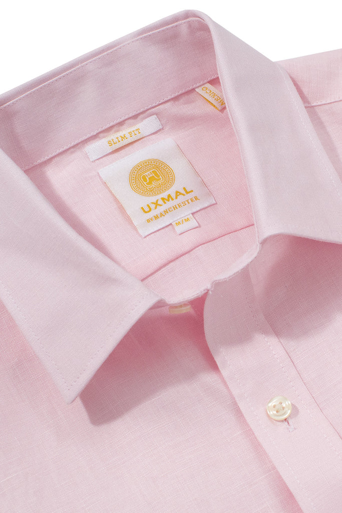 Slim fit cool linen shirts pink