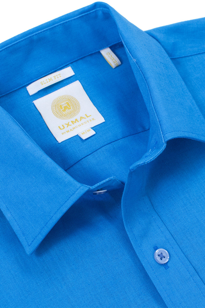 Slim fit linen blend cool shirts electric blue