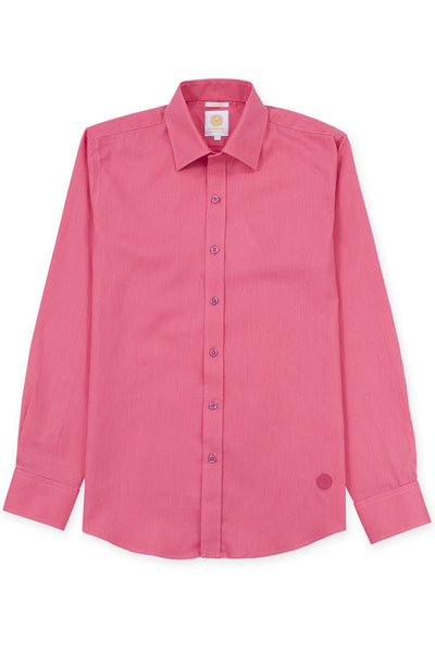 Slim fit linen blend cool shirt electric coral
