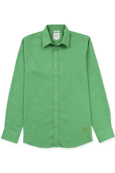 Slim fit linen blend cool shirt electric green