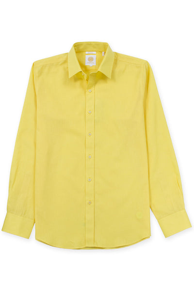 Slim fit linen blend cool shirt electric yellow