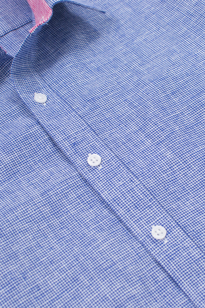 slim fit houndstooth linen blend shirt