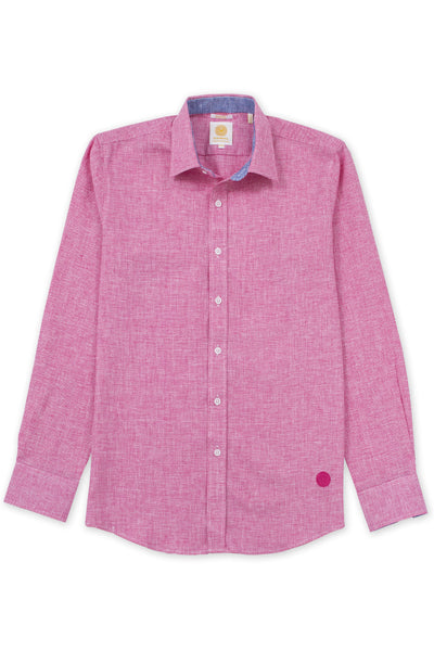 Slim fit houndstooth linen blend comfortable shirt pink