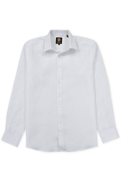 Regular fit formal wear italian linen mens shirt white