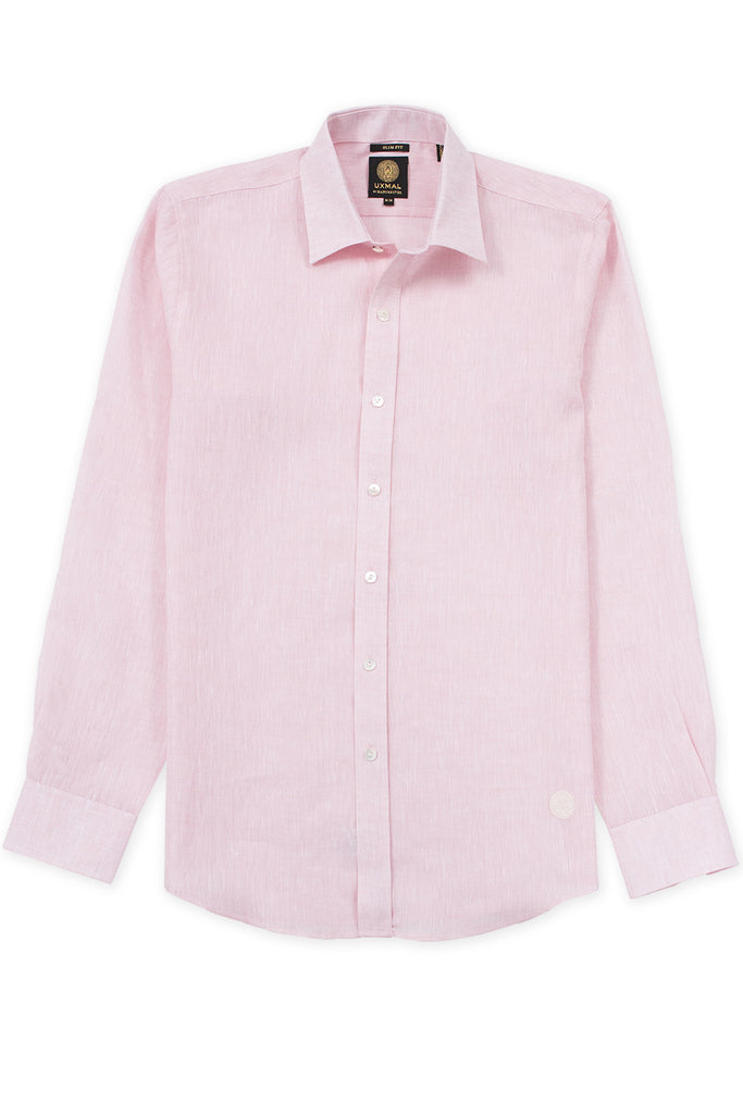Slim fit italian linen relaxed shirt pink