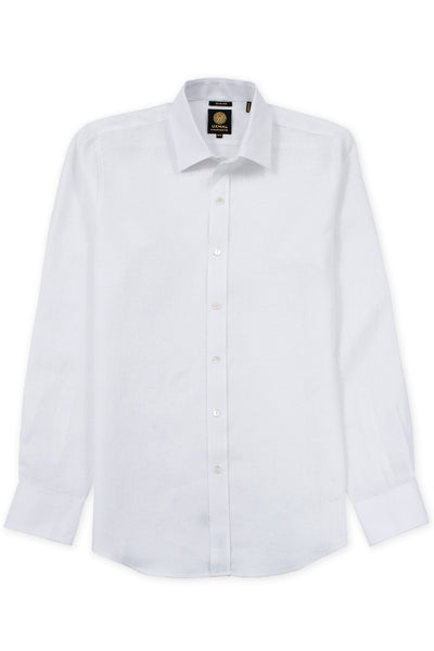 Slim fit italian linen relaxed shirt white