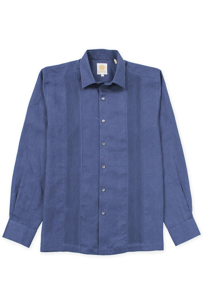 Regular fit linen guayabera fresh shirt ink blue
