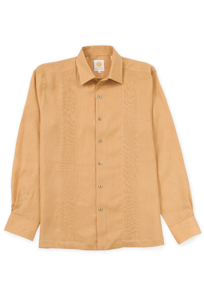 Regular fit linen guayabera fresh shirt mustard