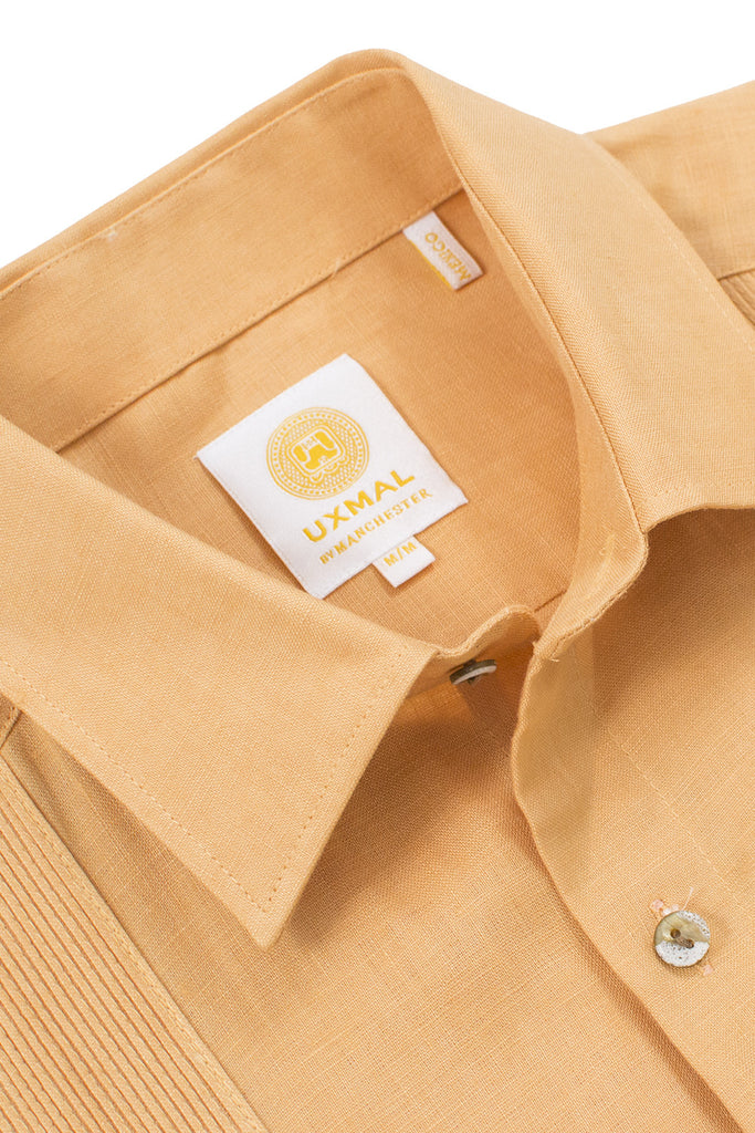 Regular fit linen guayabera fresh shirts mustard