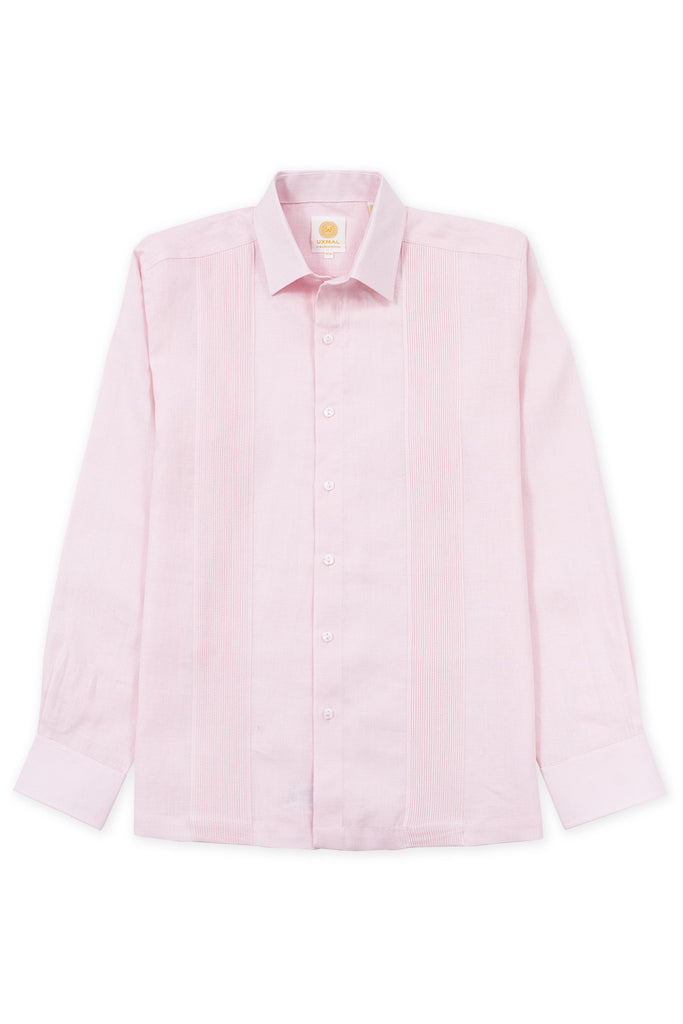 Regular fit linen guayabera fresh shirt pink