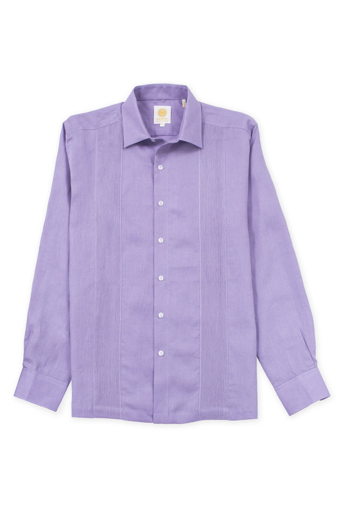 Regular fit linen guayabera fresh shirt violet