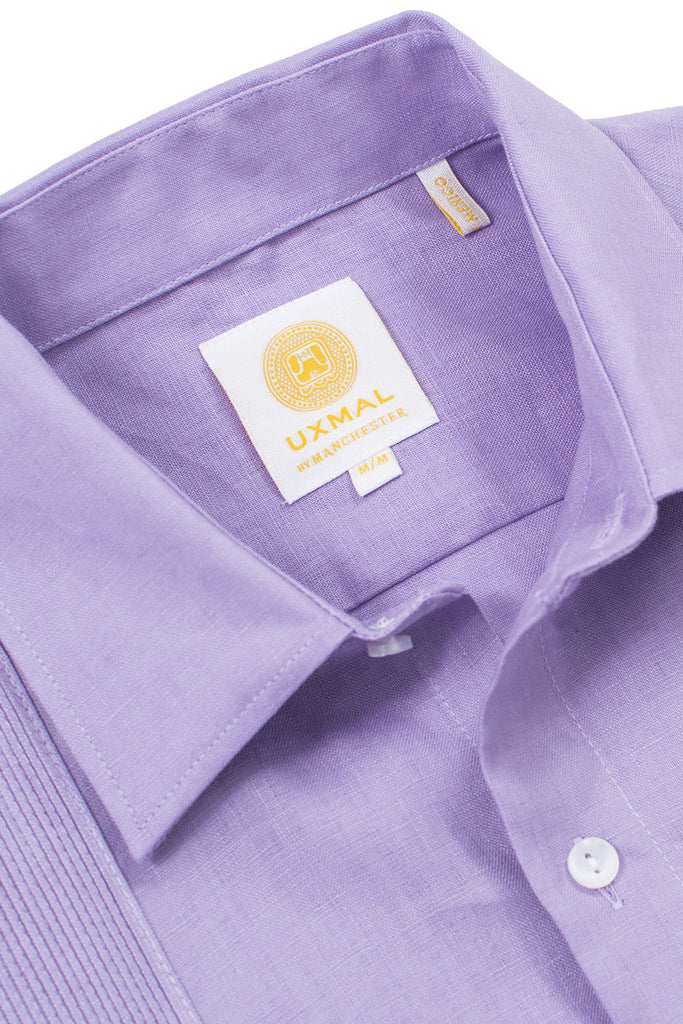 Regular fit linen guayabera fresh shirts violet