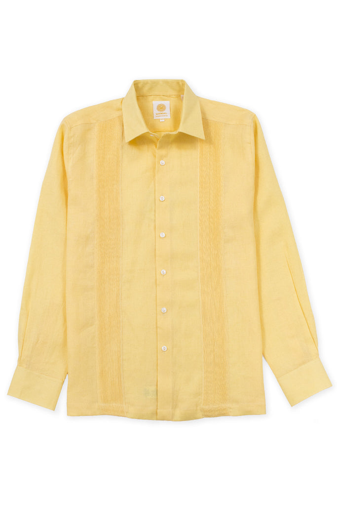 Regular fit linen guayabera fresh shirt yellow