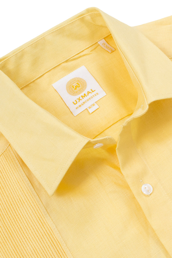 Regular fit linen guayabera fresh shirts yellow