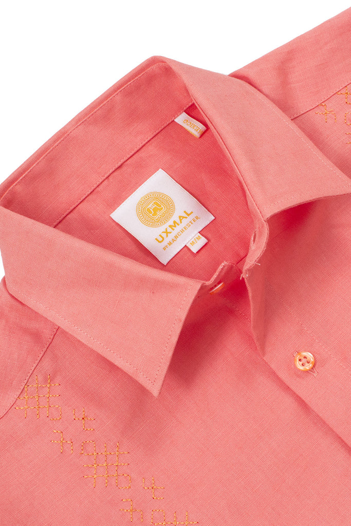 Regular fit wedding linen guayaberas tulum embroidery orange