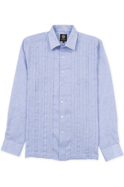 Regular fit italian linen guayabera fresh shirt blue