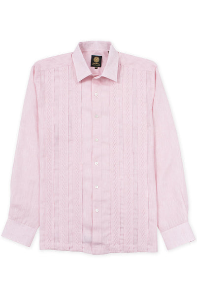 Regular fit italian linen guayabera fresh shirt pink