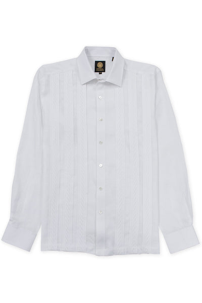 Regular fit italian linen guayabera fresh shirt white