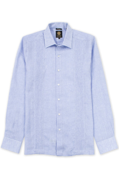 Slim fit italian linen guayabera relaxed shirt blue