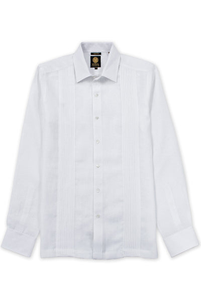 Slim fit italian linen guayabera relaxed shirt white