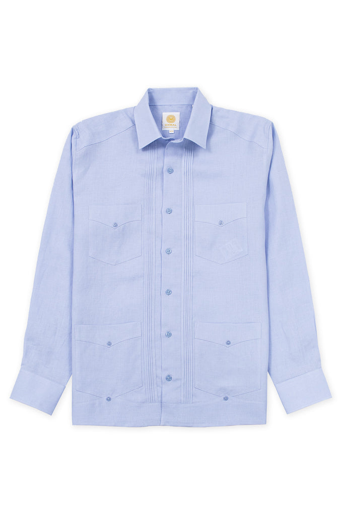 Regular fit 4 pocket linen guayabera shirt blue