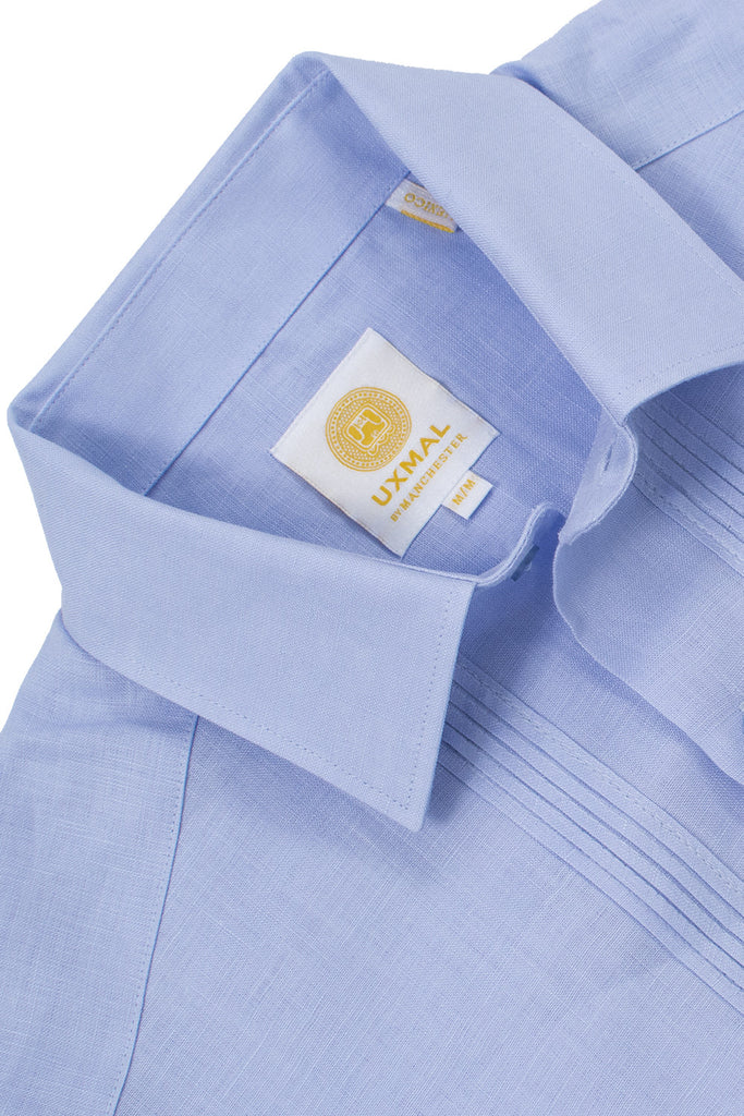 Regular fit 4 pocket linen guayabera shirts blue