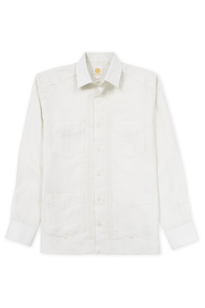Regular fit 4 pocket linen guayabera shirt ivory