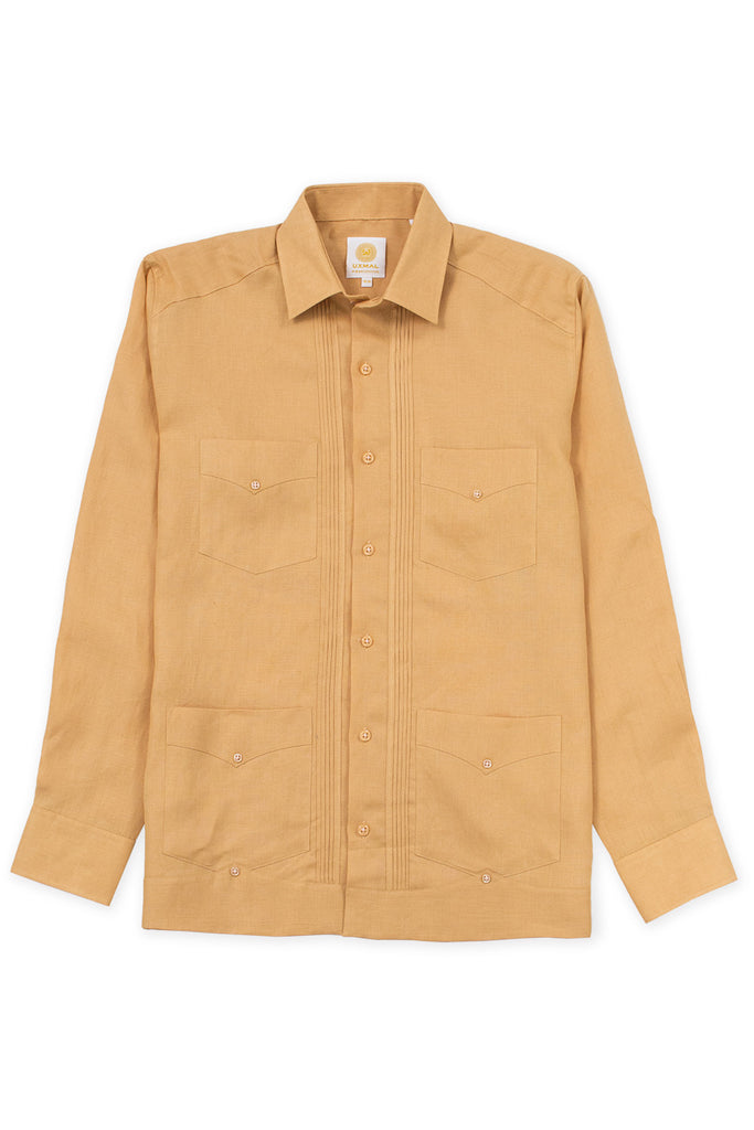 Regular fit 4 pocket linen guayabera shirt mustard