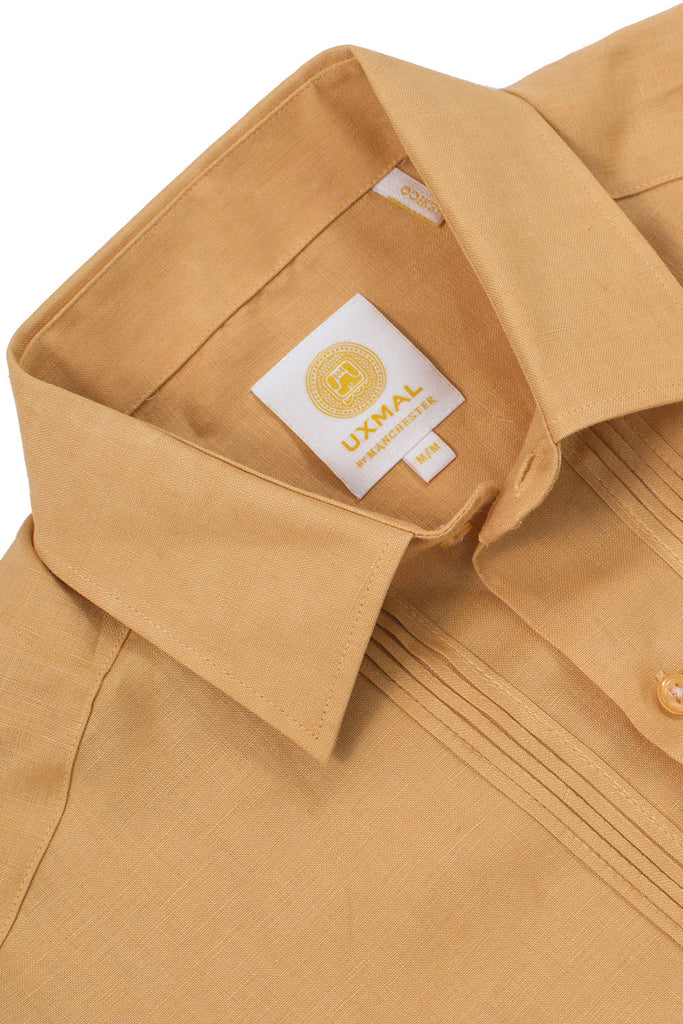 Regular fit 4 pocket linen guayabera shirts mustard