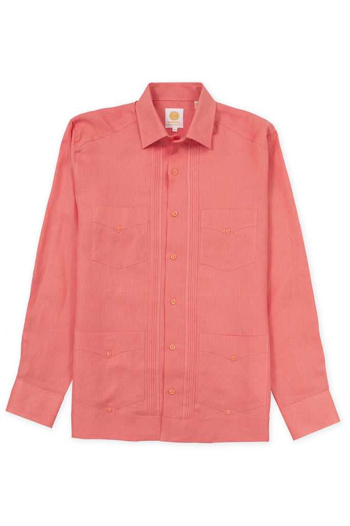 Regular fit 4 pocket linen guayabera shirt orange