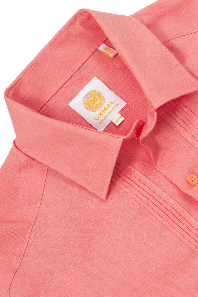 Regular fit 4 pocket linen guayabera shirts orange