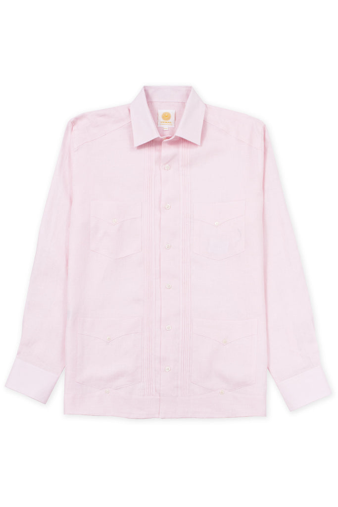 Regular fit 4 pocket linen guayabera shirt pink