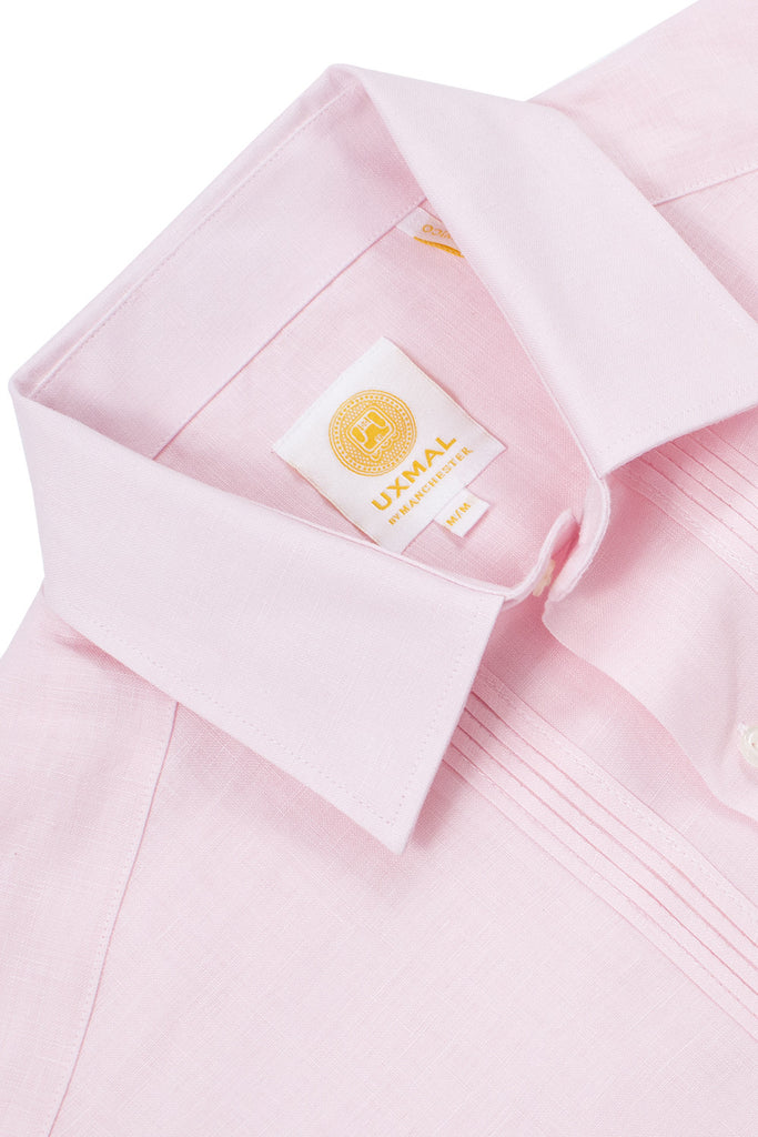 Regular fit 4 pocket linen guayabera shirts pink