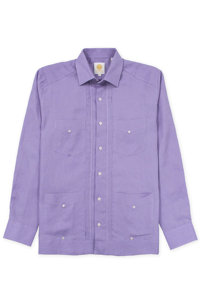 Regular fit 4 pocket linen guayabera shirt violet