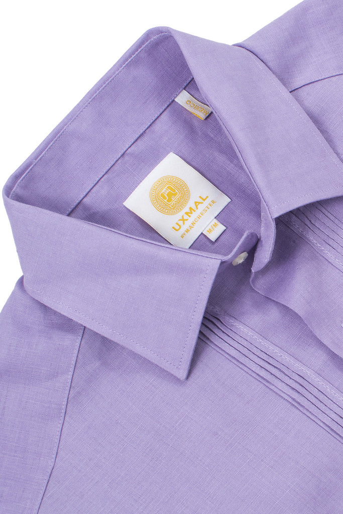 Regular fit 4 pocket linen guayabera shirts violet