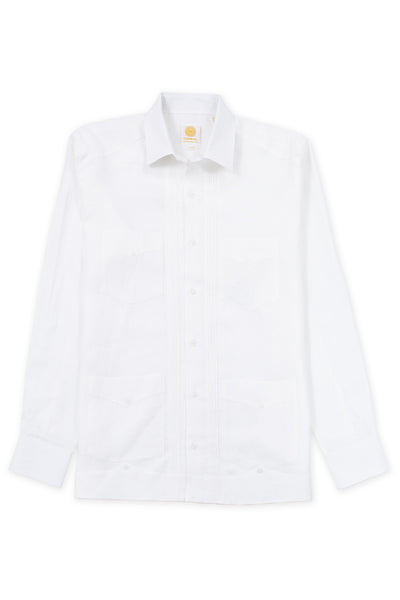 Regular fit 4 pocket linen guayabera shirt white