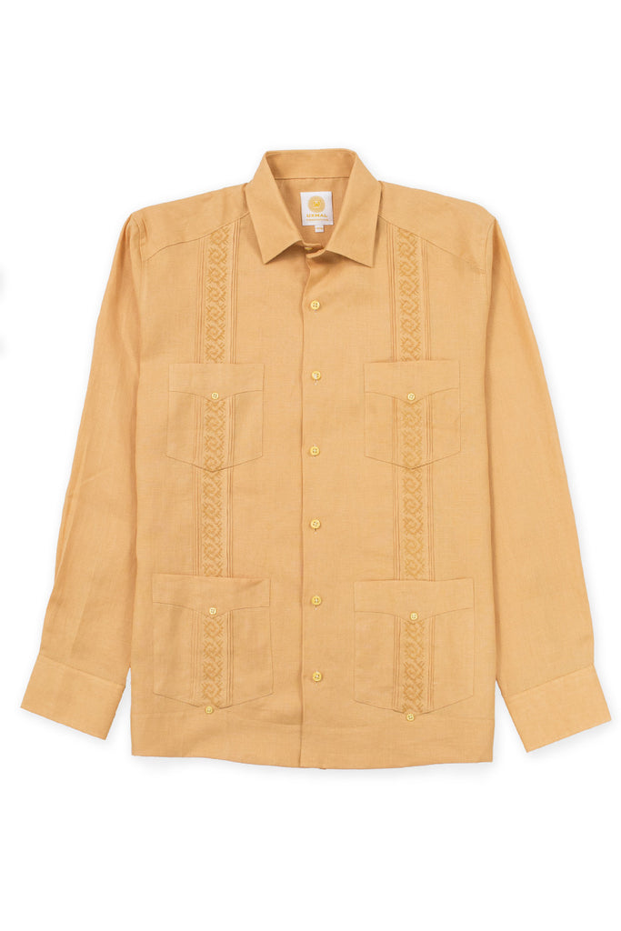 Regular fit 4 pocket elegant wear linen guayabera akumal embroidery mustard