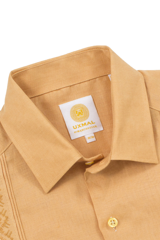 Regular fit 4 pocket elegant wear linen guayaberas akumal embroidery mustard