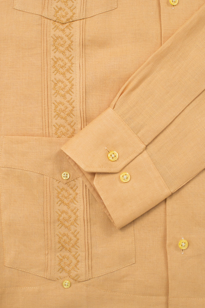 regular fit 4 pocket linen guayabera akumal embroidery