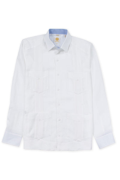 Slim fit 4 pocket traditional linen guayabera shirt white
