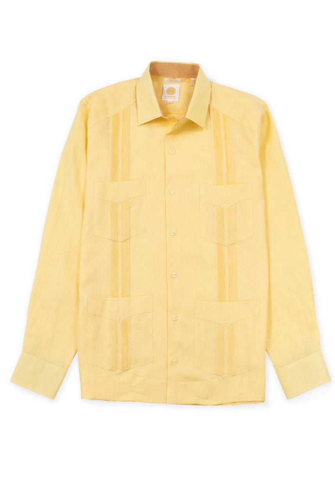 Slim fit 4 pocket traditional linen guayabera shirt yellow