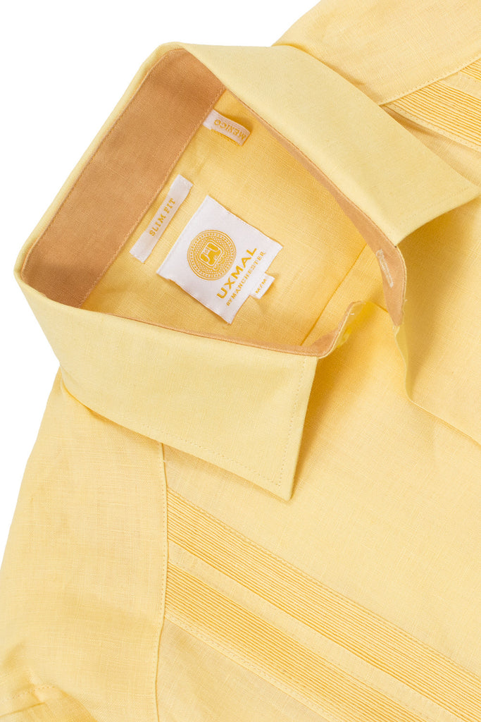Slim fit 4 pocket traditional linen guayabera shirts yellow