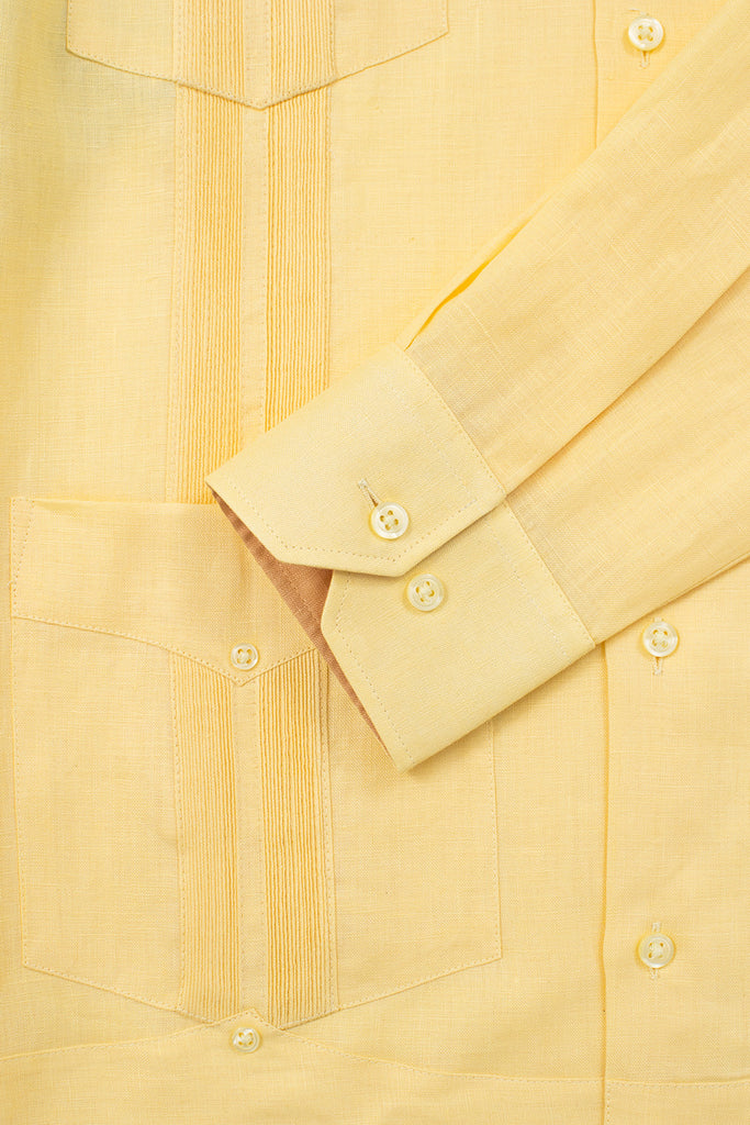 slim fit 4 pocket linen guayabera